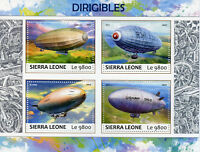 Sierra Leone 2017 MNH Dirigibles Zeppelins Airships 4v M/S Aviation Stamps