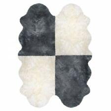 Natur Schaffell Lammfell Läufer 4-fach Teppich Sitzauflage Abdeckung Warmer Neu