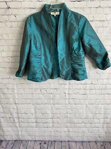 Marisa Baratelli Thai Blouse Shirt Button Up Top Pleats Teal Size 16