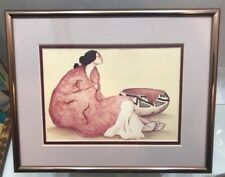 "R C Gorman ""Tonto Bowl"" Vintage GALLERY Art Print And Aluminum Bronze Framed"
