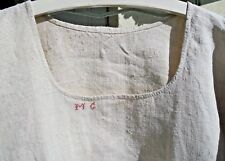 Antique French Pure Linen peasant Chemise Smock Tunic dress Robe shift 1890