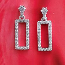 New Elegant Art Deco Earrings Real 925 Sterling Silver Zirconia Strass Crystal