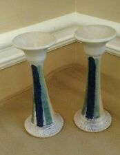 "2 John SEXTON JS Pottery Signed 7"" Candle Holders Blue Green Yellow  Lowell, NC"