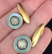 Vintage Art Deco Jewellery Delightful Gilt & Dimpled Glass Cufflinks