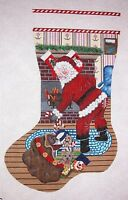 KW 1309 Santa Claus & Toys Christmas Stocking Hand Painted Needlepoint Canvas
