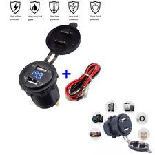 3.1A Motorcycle Car Boat Blue LED Digital Display Voltmeter Dual USB Waterproof