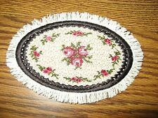 VICTORIAN PINK ROSES OVAL MINI MINIATURE  DOLLHOUSE RUG EDGED IN BLACK
