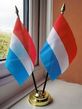 LUXEMBOURG X2 TABLE FLAG SET 2 flags plus GOLDEN BASE