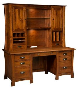"""Amish Executive Wall Desk Hutch Transitional Solid Wood 68"""" File Drawers"""
