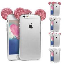 Urcover® TPU Phone Case Mouse ears Bling Ear Case Cover Glitter glass film