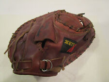 """ZETT Baseball Catcher's GLOVE MITT RHT Steer Hide Japan. Model: BIC-1021 10"""" GUC"""