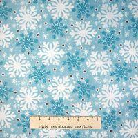 Christmas Fabric - All Bundled Up Snowflake Toss Blue - Wilmington YARD