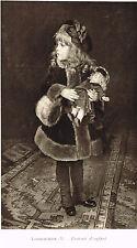 Young Girl w/ Doll Print Picture Timoleon Lobrichon Portrait d Enfant Winter