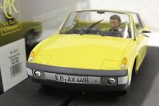 SRC 02005 PORSCHE 914 YELLOW STREET CAR NEW 1/32 SLOT CAR IN DISPLAY CASE