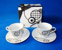 4 Pc Demitasse Espresso Coffee Cup & Saucer Gift Box ~ Circles & Waves, Set #D