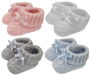 Baby BOOTIES knitted shoes socks Spanish style BOW newborn