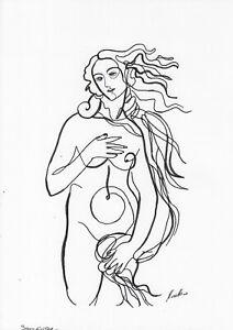 original drawing A4 42BJ art samovar ink modern female nude Signed 2020