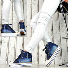 LuXus Wedges Sport Sneaker Keilabsatz Turnschuhe Damenschuhe Jeans Optik Blau