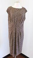 Talbots Tan Brown Leopard Print Draped Jersey Knit Dress Size XL Cheetah Casual