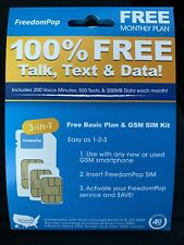 FreedomPop Free Basic Service LTE SIM Card Kit - 100% FREE TALK, TEXT & DATA !!!