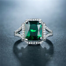 Gorgeous Women Wedding Ring 925 Silver Jewelry Princess Cut Emerald Size7