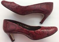 Van Dal Lowe 5.5E Burgandy Leather Snakeskin Style Court Shoes  Events Dressy