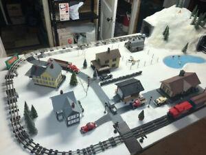 O scale model train layout