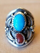 Vintage Navajo Ring Turquoise Coral Great Detail w/ Leaf and Berry Side Accents