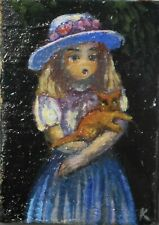 Vintage doll house miniature artist oil painting 3 x 4 cm, Girl with cat Signed