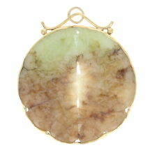 Yellow Gold Jadeite Fish Pendant - 14k Etched Disc