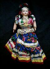 "Vintage European rag doll 13.5"" tall"