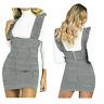 Womens Hound Dog Tooth Ladies Check Ruffle Frill Pinafore Bodycon Mini Dress