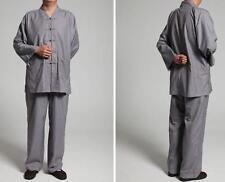 Summer cotton zen suits Buddhist Monks uniforms lay Meditation clothing gray