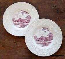 Wedgwood Guilford College Two Dinner Plates Charles A. Dana Auditorium Mulberry