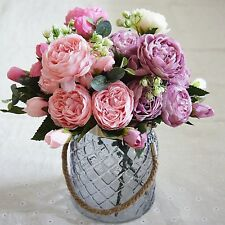 1 Bouquet Artificial Fake Peony Flower Bridal Hydrangea Wedding Party Décor hi