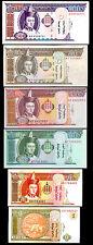 MONGOLIA SET 6 PCS 1 5 10 20 50 100 TUGRIK 2000-2009 UNC