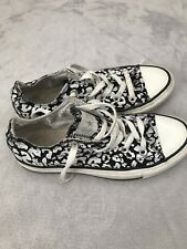 Converse All Stars Black And White Animal Print Trainers Size 4 In Good
