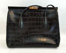 VINTAGE 1990'S ESCADA CROCODILE EMBOSSED BLACK LEATHER STRUCTURED SHOULDER BAG