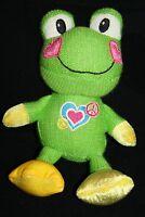 "Dan Dee Green FROG 9"" Knit Plush Heart Mouth Valentine Stuffed Soft Toy 2011"