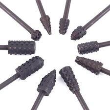 10Pcs Black Alloy Steel Wood Rasps Set Carving Burr Bits For Rotary Kit Bur 1/8