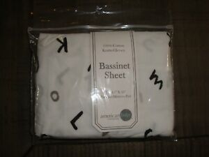 "American Baby Company 100% Cotton Knitted Jersey Bassinet Sheet 15""x33"" NEW"