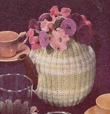 Vintage Knitting PATTERN to make Rib Knit Tea Cozy Crochet Flowers PetuniaTeaCos