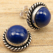 925 Silver Overlay LIGHTWEIGHT Jewelry ! Real LAPIS LAZULI Blue Stud EARRINGS