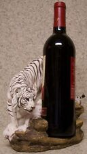 Wine Bottle Holder and/or Decorative Sculpture White Tiger on a Rock NEW