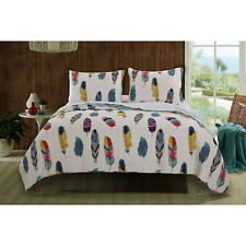 Feather Print Full Queen Quilt Set 3pc Sham Bed Mattress Reversible Oversize New