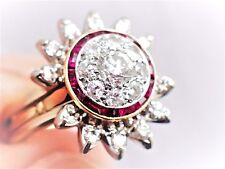 Art Deco Calibre RUBY Old Mine DIAMOND Target Ring Guard 2PC SET Wedding Bridal