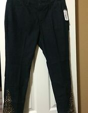 12P NYDJ  Not Your Daughter Slim Ankle Pant Dark Enzyme Wash Denim W/Gold Stones