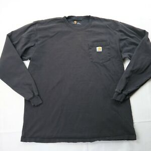Carhartt Size Large Tall Long Sleeve Cotton Shirt Faded Black WORN IN Distressed