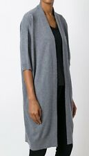 $385 NWT VINCE 100% CASHMERE SHORT SLEEVE LONG CARDIGAN SWEATER HEATHER GRAY  XS