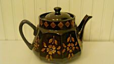 Vintage Brown Ceramic Teapot with Flowers Made in England